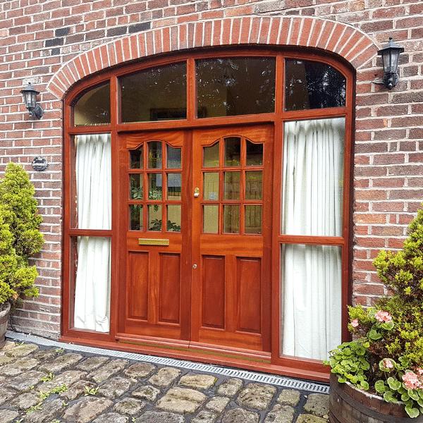 Timber made double glazed patio wood doors