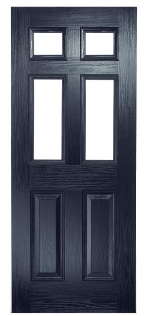 composite door classical blue half glazed