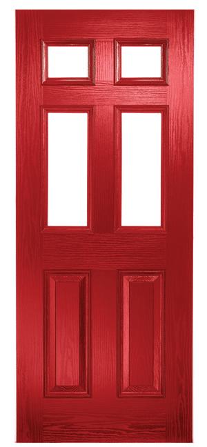 Composite Door Red Classical Half Glazed