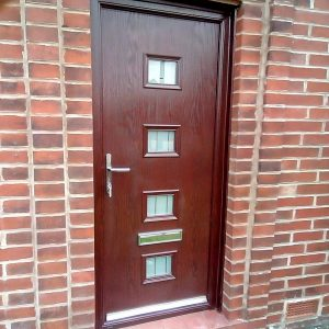 Composite New Doors Oak Brown With Espirit Four Glass Design