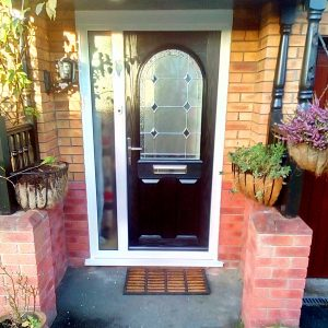 Composite Door Supplier Black Grey Elegance arch With Palma Glass Design