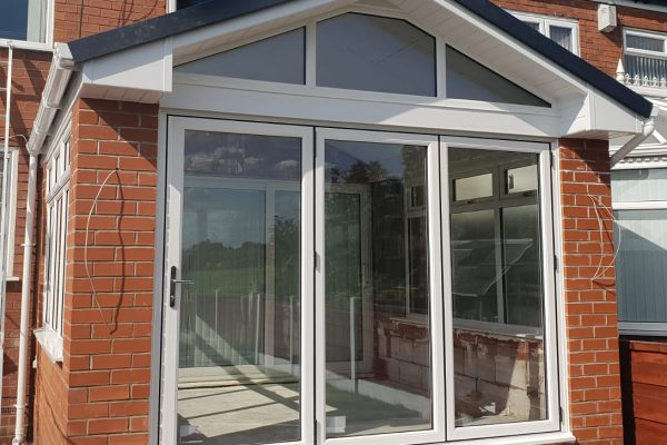gable roof conservatory with solid tiled roof