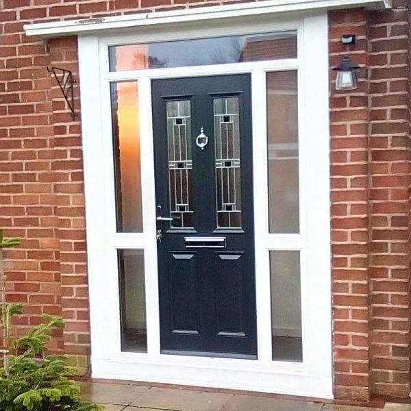 Esteem front door with aspen glass