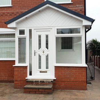Glass porch With white uPVC cladding