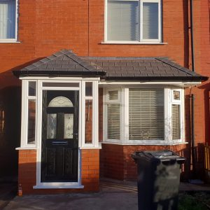 open porches with black eclat door and solid roof