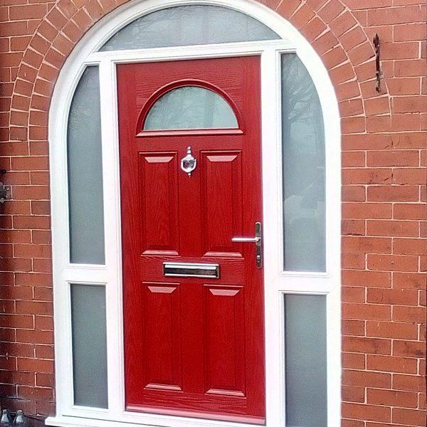arched red composite door