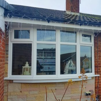 double glaze bow window in white uPVC