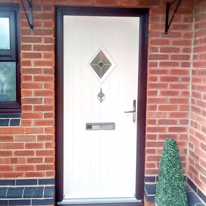 White Renown Outside Doors With Diamond Glass
