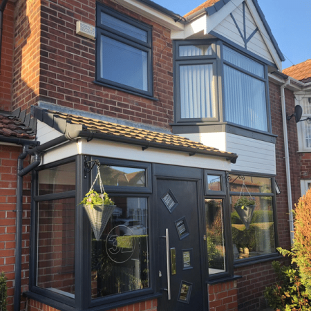 Replacement bay double glazed window unit in anthracite grey