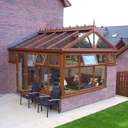 Gable Conservatory with Oak finish and glass roof