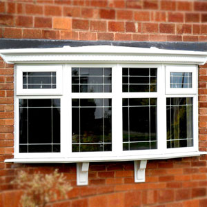 White uPVC Bow window with Edwardian style glass