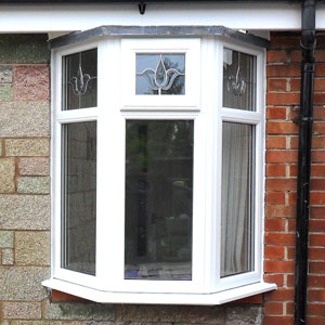 White uPVC three panel bay window