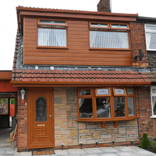 two casement Brown Window frames and ground floor bow window